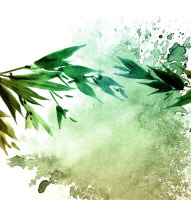 Obraz Akvarel malované listy stromů