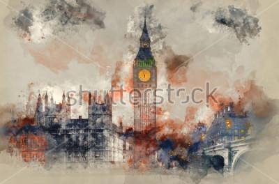 Obraz Akvarel malování Big Ben a domy Parlamentu během zimního slunce.