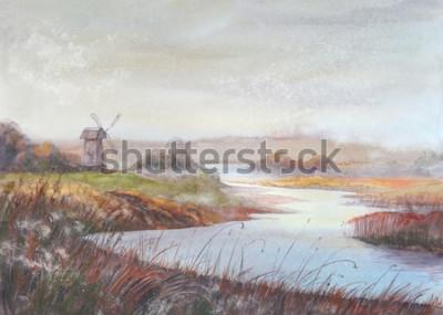 Obraz Akvarel malování krajiny. Řeky a starý větrný mlýn.