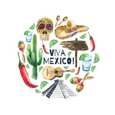 Obraz Akvarel mexico ikony.