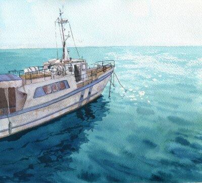 Obraz akvarel moře krajina s lodí