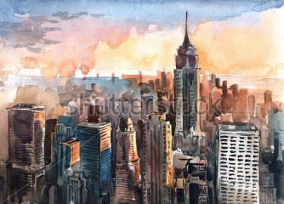 Obraz Akvarel na Manhattanu mrakodrapy při západu slunce - New York městské věže
