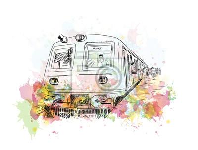 Obraz Akvarel náčrtek místní vlak Bombaj ve vektorové ilustrace.