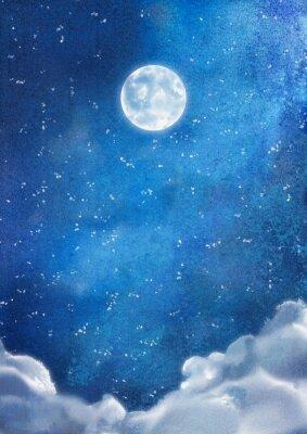 Obraz Akvarel Noční mraky