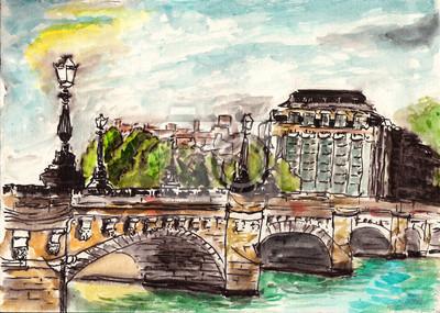 akvarel Pařížská ulice