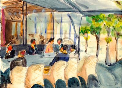 akvarel pařížské ulice kavárna