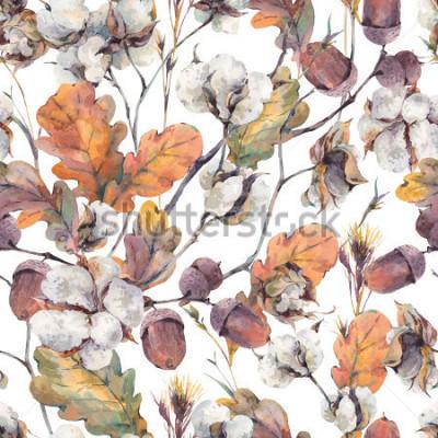 Obraz Akvarel podzimní vinobraní pozadí s větvičkami, bavlna květ, žluté dubové listy a žaludy. Botanické akvarel ilustrace bezproblémové vzorek