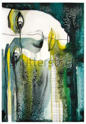 Obraz akvarel portrét krásné dívky | ručně vyrobené self made | malování