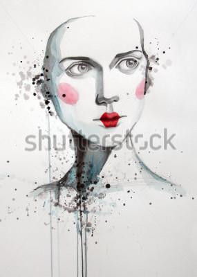 Obraz akvarel portrét krásné ženy | ručně vyrobené self made | malování