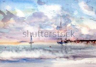Obraz akvarel přístavní krajina