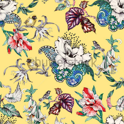 Obraz Akvarel ručně kreslený bezešvé vzor s tropické letní květiny a exotické ptáky na žlutém pozadí