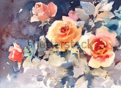 Obraz Akvarel růže květiny květinové pozadí textury ručně malované