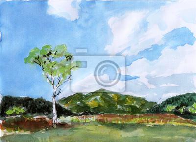 akvarel salašnický stromu