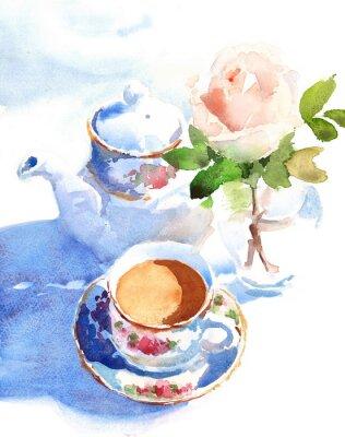 Obraz Akvarel Šálek kávy a růže ve vázu ručně kreslených zátiší ilustrační jídlo a pití pozadí