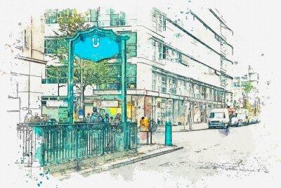 Obraz Akvarel skica nebo ilustrace. Berlín. Znamení vstupu do metra. Stanice metra metra.