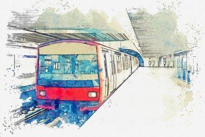 Obraz Akvarel skica nebo ilustrace metra v Lisabonu v Portugalsku. Tradiční stanice metra na stanici metra