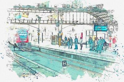 Obraz Akvarel skica nebo ilustrace. Německo. Berlín. Centrální nádraží se nazývá Berlín Hauptbahnhof. Lidé čekají na vlak na nástupišti.