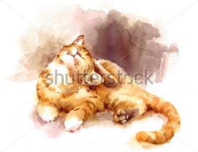 Obraz Akvarel Tabby kočka, kterým se poškrábání jeho hlavy Ručně malované Pet Pet Obrázek