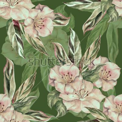 Obraz Akvarel tropický vzor na tmavě zeleném pozadí. Ruční odběrové vzorky.
