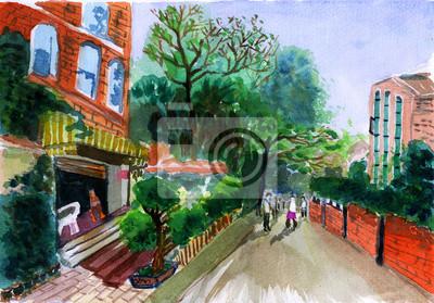 akvarel ulice dům