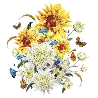 Obraz Akvarel vintage karta s chryzantémy, slunečnice a zadek