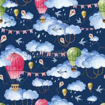 Obraz Akvarel vzorek s balónky a mraky