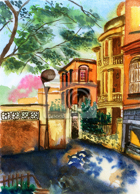 akvarel Xiamen Gulangyu porcelán