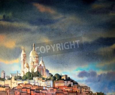 Obraz Akvarel z Montmartru, ve městě Paříž, Francie.
