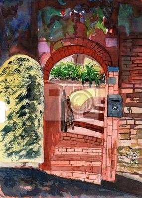 akvarel zahradní dveře