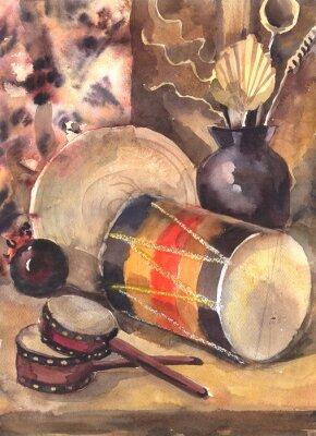 Obraz Akvarel zátiší s bubnem