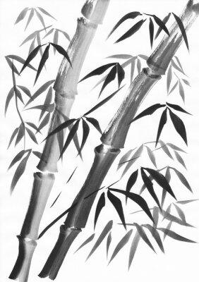 Obraz Akvarel ze dvou bambusových stonků malovaných grungeovými údery. Černý kvaš na studiích bílého papíru.