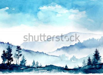 Obraz akvarelové hory