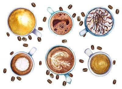 Obraz Akvarelové šálky kávy, izolovaných na bílém pozadí s kávovými zrny, pohled shora.
