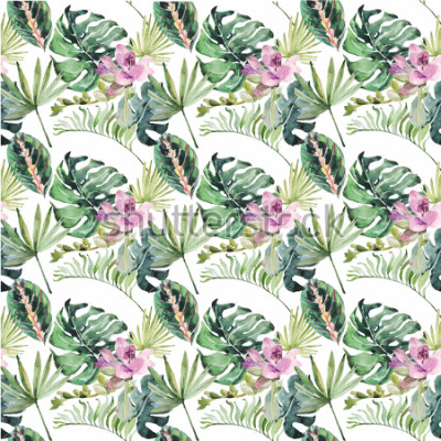 Obraz Akvarelový ornament s tropickými květinami a zelenými listy pro svatební pozvánky, prázdniny, blahopřání, plakáty, knihy, obálky, fotoalbum. Ilustrace na izolované pozadí.