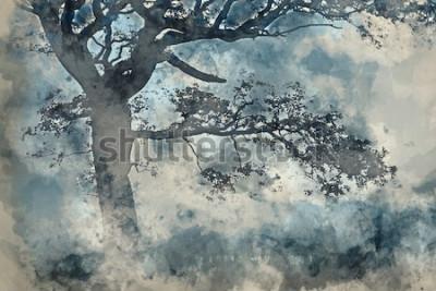 Obraz Akvarelu krásné krajiny kolem Cummock Water na podzim na mlhavé ráno