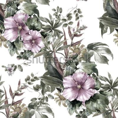 Obraz Akvarelu listů a květin, bezešvé vzor na bílém pozadí