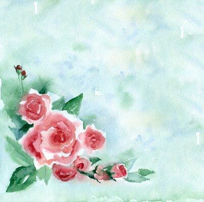 Obraz Akvarelu. Vintage kytici rudých růží na zelené rozmazané pozadí.