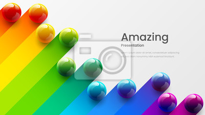 Obraz Amazing abstract vector 3D colorful balls illustration template for poster, flyer, magazine, journal, brochure, book cover. Corporate web site landing page minimal background and banner design layout.