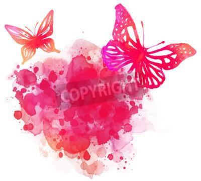 Obraz Amazing akvarel pozadí s motýla. Vektor na bílém