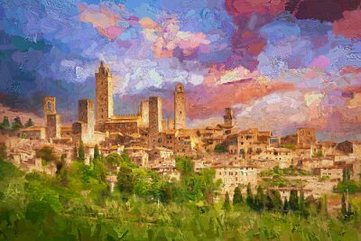 Obraz Amazing landscape view of San Gimignano is a small walled medieval hill town during colorful evening sunset in summer time, Tuscany, Italy.- oil painting