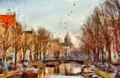 Obraz Amsterdam kanál na ranní impresionistické malby