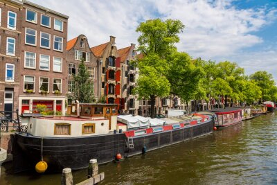 Obraz Amsterdam kanály a čluny, Holland, Netherlands.