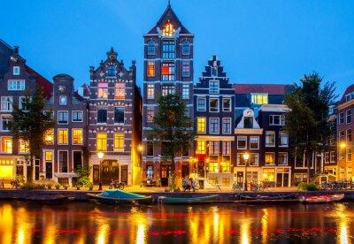 Obraz Amsterdamských kanálů.