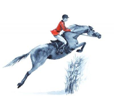 Obraz Anglie jezdecký sport. Ruční kresba ilustrace.