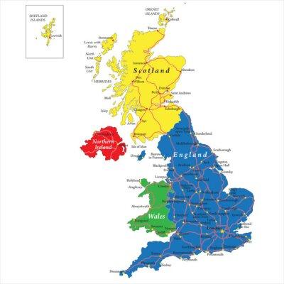 Anglie, Skotsko, Wales a Severní Irsko mapa