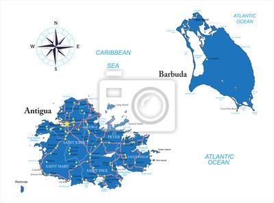 Antigua a Barbuda mapa