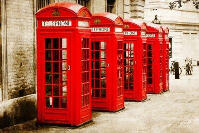 Obraz antik texturiertes Bild Roter Telefonzellen v Londýně