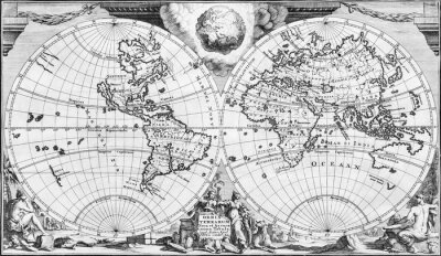 Obraz Antique world map of the 18th century, in black and white