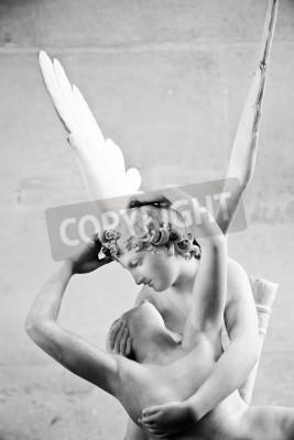 Obraz Antonio Canova socha Psyche oživeno Cupid polibek, první zadala v roce 1787, je příkladem klasicistní oddanost milovat a emoce
