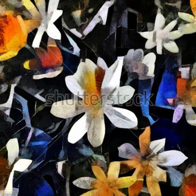 Obraz Aranžování květin ve stylu abstraktní kubismus. Obraz je tvořen olejem na plátně s prvky akrylové malby.